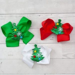NWT! Christmas Tree Embellished Boutique Hair-bow